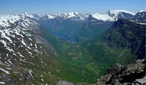 Amazing view from Mount Dalsnibba over Geiranger and the Geirangerfjord on a clear day