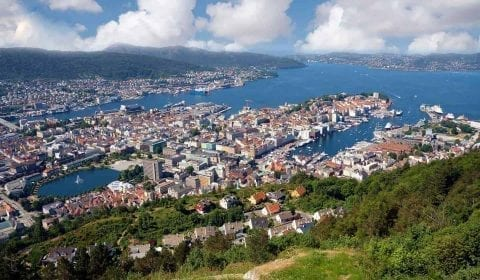 Panoramic view from Mount Fløyen over the city of Bergen and the fjord