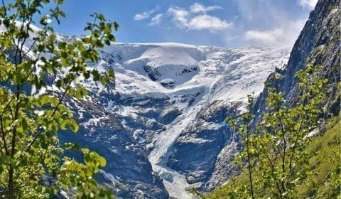 The stunning Kjenndal Glacier outside Olden, Norway