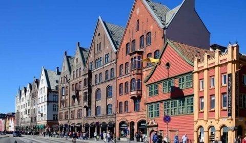 Hanseatisches UNESCO-Quartier von Bryggen in Bergen, Norwegen