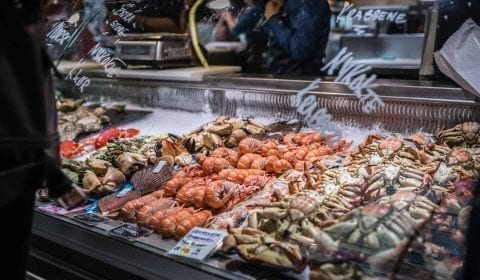 Ferske krabber, reker og annen sjømat til salgs på Fisketorget i Bergen