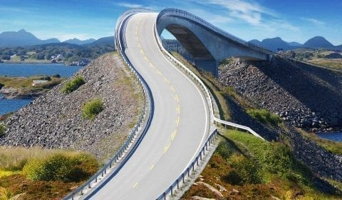 Part of the adventurous Atlantic Ocean Road, a bridge over the water, outside Molde, Norway