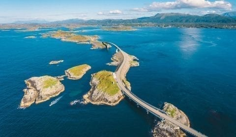 The Atlantic Ocean Road, leading from island to island, close to Molde, Norway