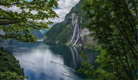 The amazing Geirangerfjord and the Seven Sisters waterfall, surrounded by beautiful green nature