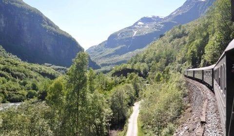 Der Flam-Zug durchquert ein grünes Tal, umgeben von beeindruckenden Bergen