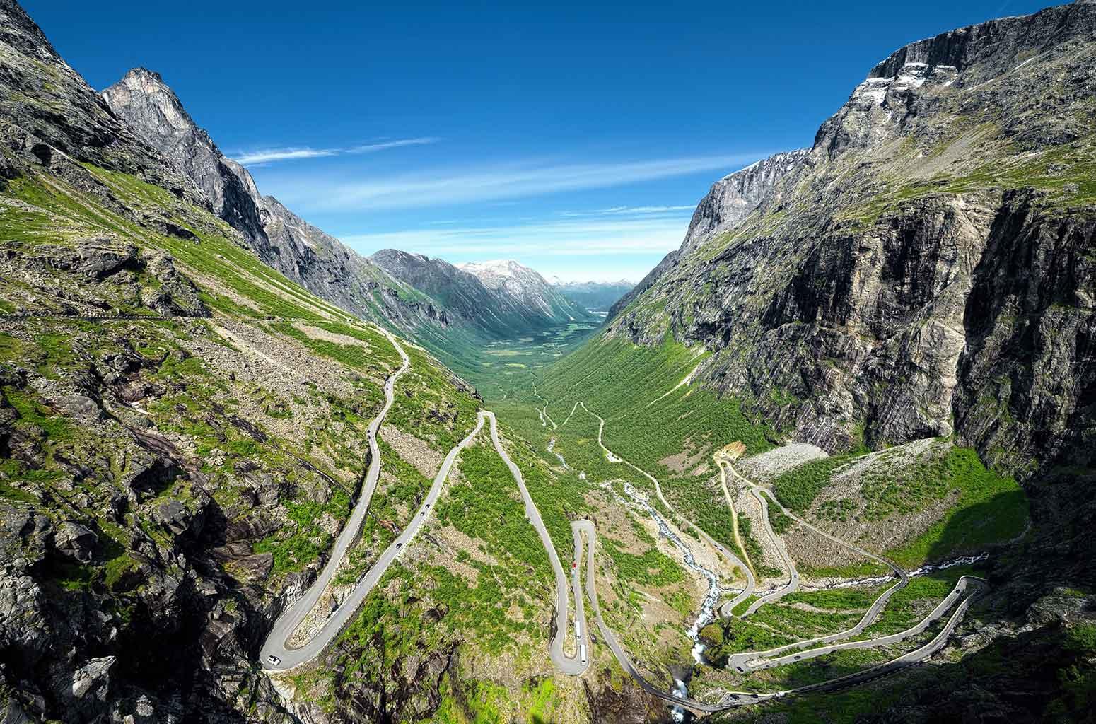 Trollstigen, or Troll Road, and its 11 hairpin bends