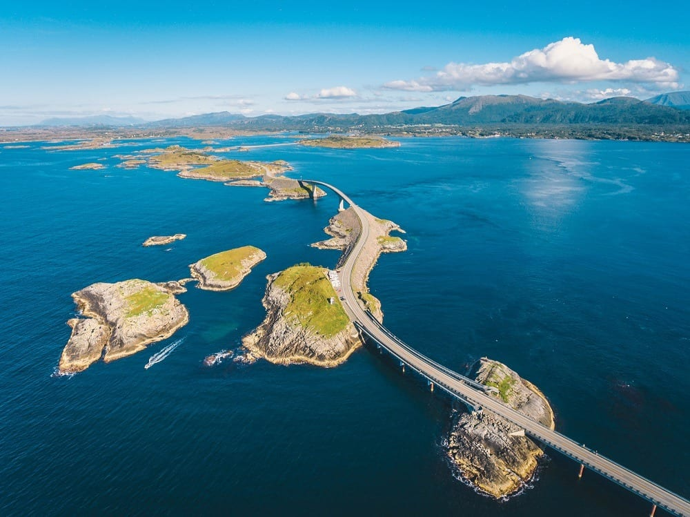 The Atlantic Ocean Road as seen from above as it winds its way through islets over the Atlantic Ocean