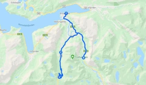 Google cartina del tour Åndalsnes Privato Strada e Parete dei Troll