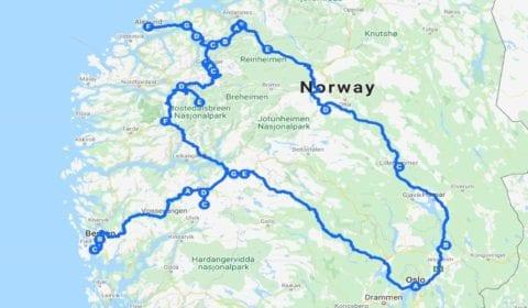 Google kart over Bergen 10-dagers Ferietur til Norske Høydepunkter