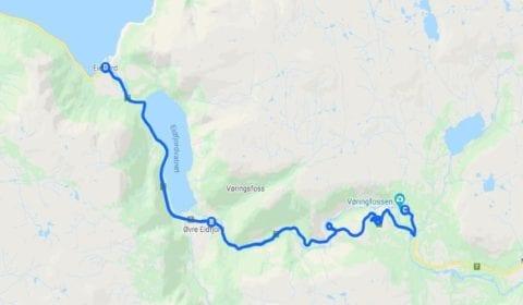 Google cartina del tour Eidfjord Privato un Giro Turistico Eccezionale