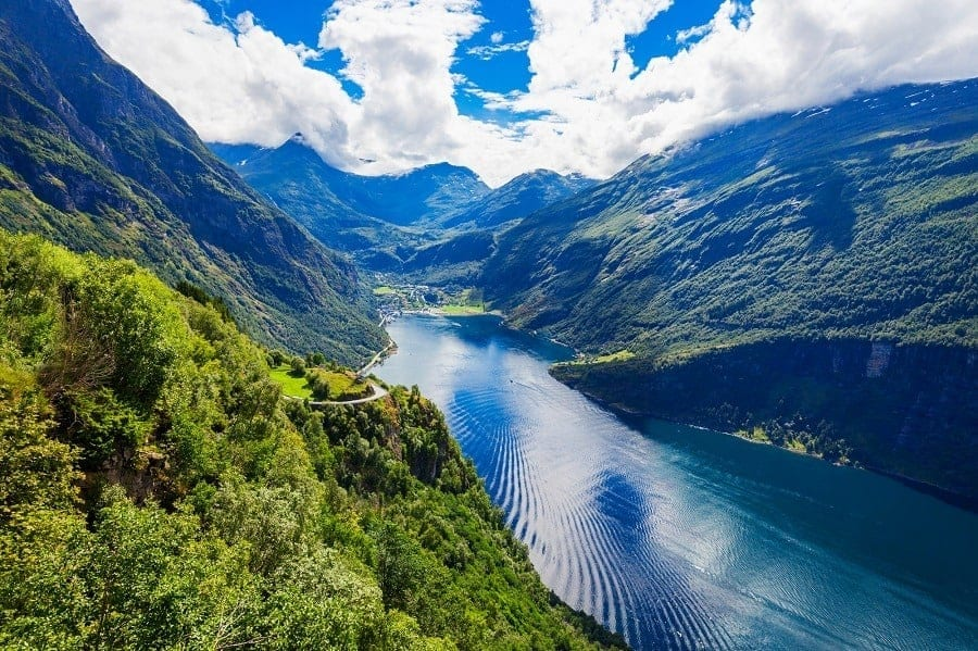 Geirangerfjord on a sunny day
