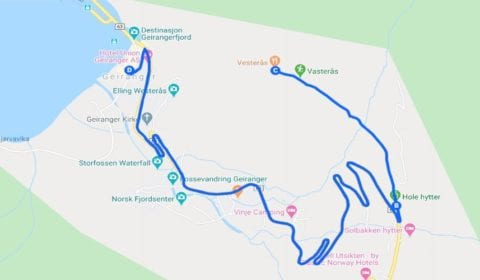 Google mapa del tour Geiranger Privado un Sendero Increíble a Westerås