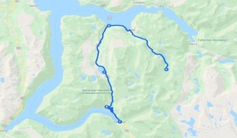 Google cartina del tour Geiranger la Fattoria centenaria di Herdal