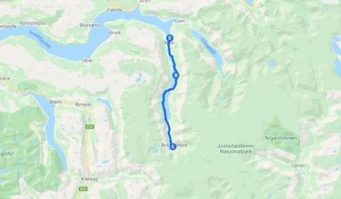 Google Karte von Olden Privat der Erstaunliche Briksdal Gletscher