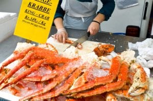 Crab counter at the Bergen Fish Market