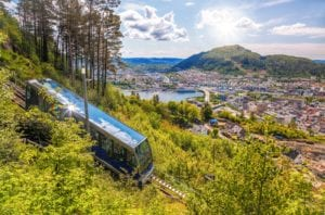 The fløibanen funicular going up Mount Fløyen with a view of the city of Bergen