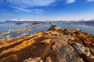 A beautiful view over the city of Ålesund, Norway and the Atlantic Ocean from Sugartop
