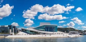 A view of the Oslo Opera House on a summer day.