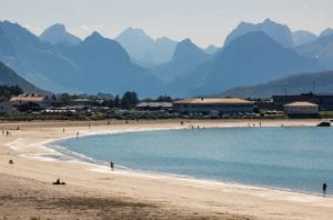 A view of the white sandy beaches along the coast in the Lofoten islands, Norway