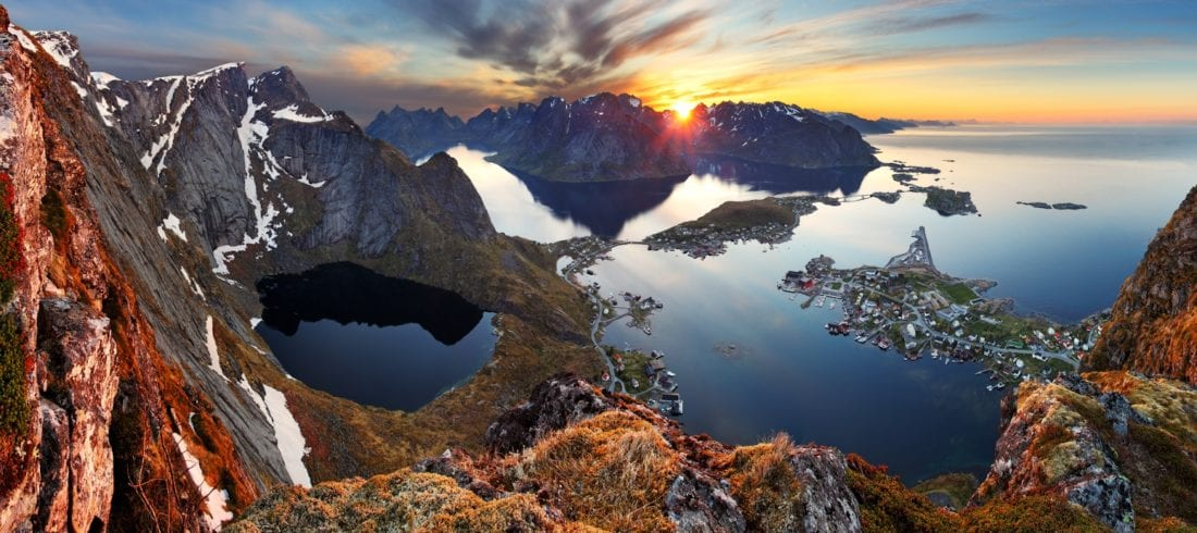 A panoramic view of Lofoten's mountains and sea at sunset