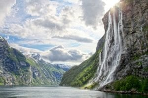A view of the majestic Seven Sisters waterfalls in Geiranger fjord, Norway.