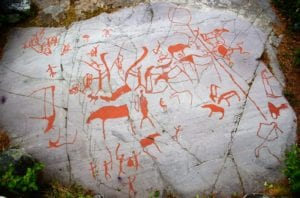 Some of the ancient rock carvings at the UNESCO World Heritage site of Alta, Norway.